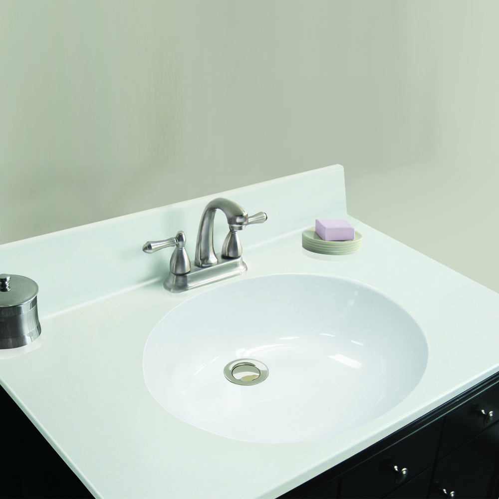 Magick Woods Elements 19 W X 17 D Solid White Cultured Marble Vanity Top With Oval Non Recessed Bowl Magick Woods Elements